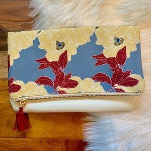 Rachel Pally tassel clutch fold over zipper